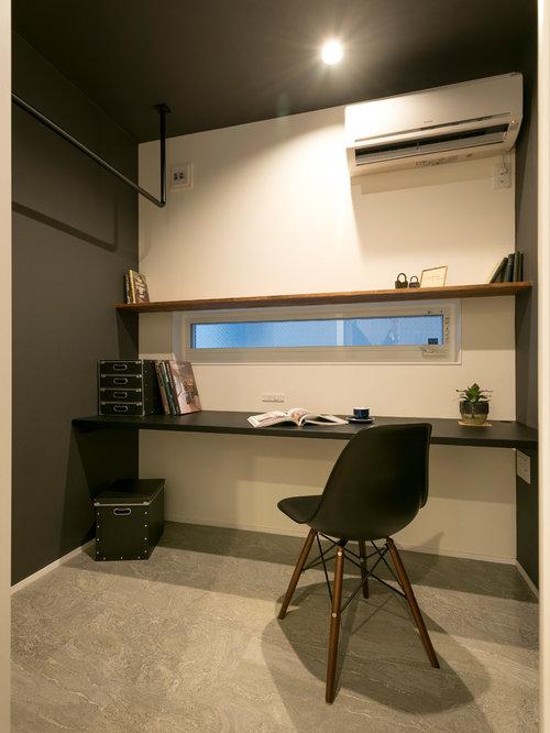 Study room modern built in desk ceramic floor and gray floor study room idea