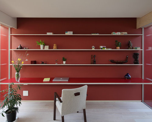 Skandinavische arbeitszimmer mit roter wandfarbe ideen for Wandfarbe arbeitszimmer
