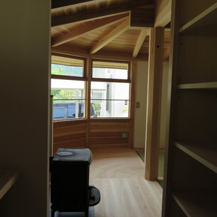 Asian light wood floor home office photo in Other with white walls, a wood stove and a plaster fireplace
