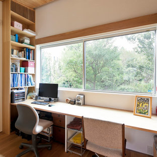 Inspiration For A Mid Sized Modern Built In Desk Medium Tone Wood Floor And