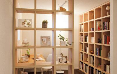 整然とした印象で空間を引き締める、格子棚の使い方バリエーション