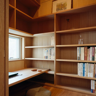 Small Minimalist Built In Desk Light Wood Floor Study Room Photo In Other  With Brown