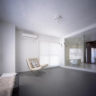 Idéer för mellanstora funkis hemmastudior, med vita väggar, linoleumgolv och grått golv