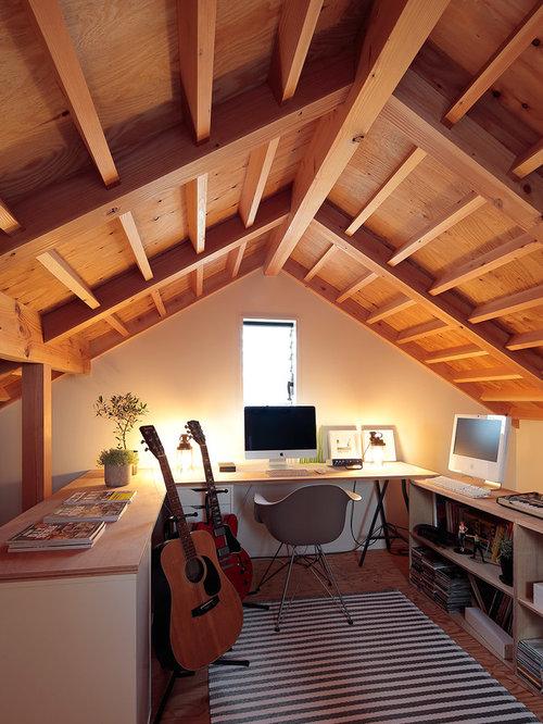 Landhausstil arbeitszimmer ideen design bilder houzz - Wandfarbe arbeitszimmer ...