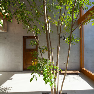 Inspiration for a zen home office remodel in Nagoya with gray walls