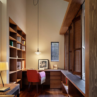 Inspiration For A 1950s Built In Desk Dark Wood Floor Study Room Remodel In  Fukuoka