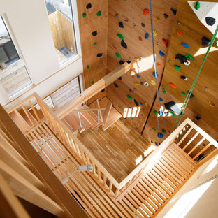 Inspiration for a modern home gym remodel in Kyoto