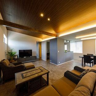 Exempel på ett mellanstort modernt allrum med öppen planlösning, med ett finrum, vita väggar, klinkergolv i porslin, en fristående TV och beiget golv