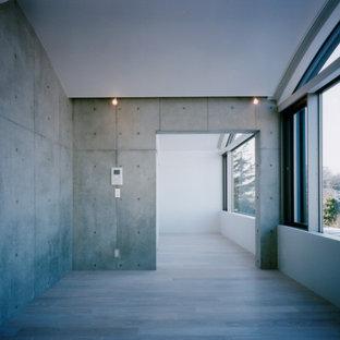 Ispirazione per un soggiorno minimalista di medie dimensioni e aperto con pareti grigie, pavimento in compensato, nessun camino e pavimento beige