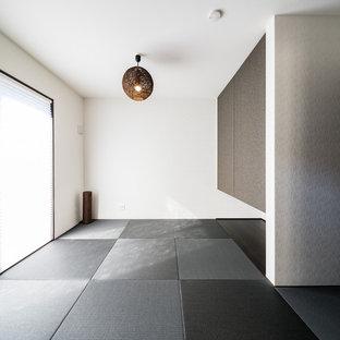 Modern inredning av ett vardagsrum, med vita väggar, tatamigolv, en fristående TV och svart golv