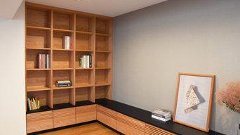 ブラックチェリーの本棚とテレビボード