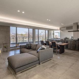 Idéer för att renovera ett funkis vardagsrum, med klinkergolv i keramik och grått golv