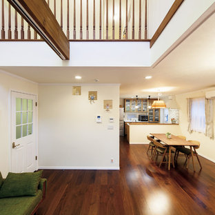 Coastal open concept plywood floor and brown floor living room photo in Tokyo Suburbs with white walls