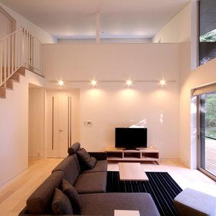 Ispirazione per un soggiorno moderno di medie dimensioni e chiuso con pareti bianche, pavimento in legno verniciato, camino bifacciale, cornice del camino in pietra, TV autoportante e pavimento beige
