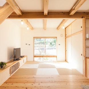 Diseño de salón abierto, nórdico, pequeño, sin chimenea, con paredes blancas, tatami y televisor independiente
