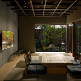 Photo of a world-inspired formal enclosed living room in Kyoto with multi-coloured walls, tatami flooring, a wall mounted tv and green floors.