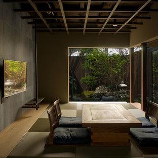 Imagen de salón para visitas cerrado, de estilo zen, con paredes multicolor, tatami, televisor colgado en la pared y suelo verde