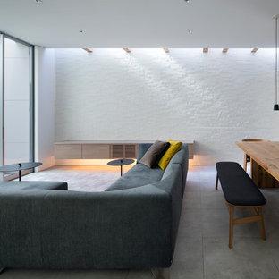 大阪の中くらいのコンテンポラリースタイルのおしゃれなLDK (白い壁、磁器タイルの床、暖炉なし、据え置き型テレビ、グレーの床) の写真