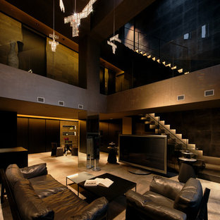 This is an example of a modern open concept home theatre in Osaka with grey walls, ceramic floors and grey floor.