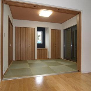 Inspiration för mellanstora moderna vardagsrum, med tatamigolv
