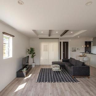 Ejemplo de salón moderno, sin chimenea, con paredes blancas, suelo de contrachapado y televisor independiente