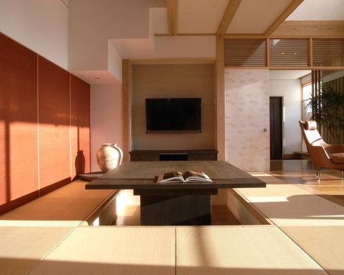 wohnzimmer mit tatami-boden und wand-tv - ideen, design, bilder, Wohnzimmer