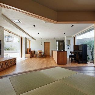 Foto de salón abierto, de estilo zen, con paredes multicolor, tatami, televisor colgado en la pared y suelo verde