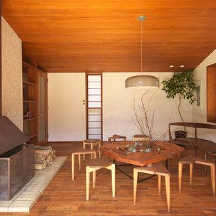 横浜の中サイズの北欧スタイルのおしゃれなリビング (白い壁、濃色無垢フローリング、標準型暖炉、レンガの暖炉まわり、茶色い床) の写真
