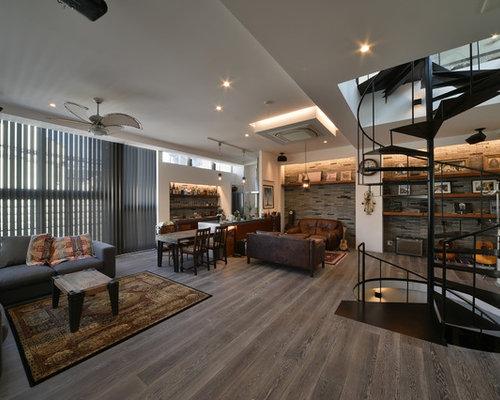 industrial wohnzimmer mit hausbar ideen design bilder beispiele. Black Bedroom Furniture Sets. Home Design Ideas