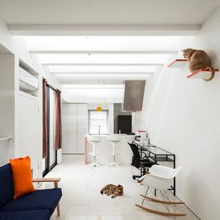 大阪の小さいコンテンポラリースタイルのおしゃれなLDK (白い壁、白い床) の写真