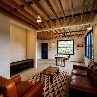 他の地域の小さいサンタフェスタイルのおしゃれなLDK (白い壁、コンクリートの床、グレーの床、格子天井) の写真