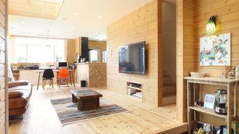 無垢材をふんだんに使った 大空間の家