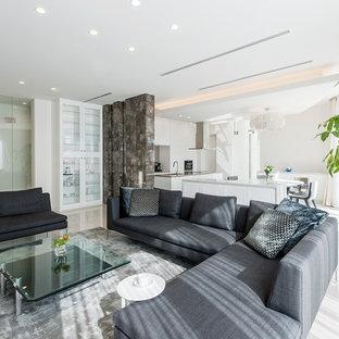 トランジショナルスタイルのおしゃれなリビング (白い壁、大理石の床、白い床) の写真
