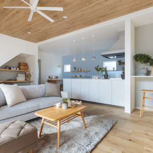 Inredning av ett nordiskt mellanstort allrum med öppen planlösning, med vita väggar, ljust trägolv och beiget golv