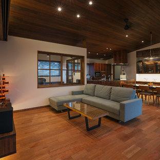 他の地域のコンテンポラリースタイルのおしゃれなLDK (白い壁、無垢フローリング、据え置き型テレビ、茶色い床) の写真