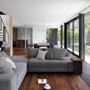 他の地域のトラディショナルスタイルのおしゃれなLDK (白い壁、濃色無垢フローリング、標準型暖炉、石材の暖炉まわり、壁掛け型テレビ、グレーの床) の写真