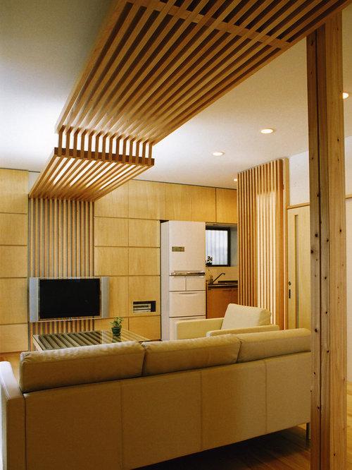 Asiatische Wohnzimmer mit Wand-TV Ideen, Design & Bilder   Houzz