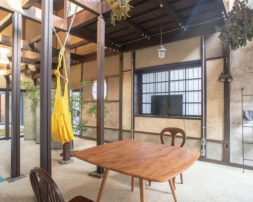asiatische wohnzimmer mit betonboden ideen design. Black Bedroom Furniture Sets. Home Design Ideas