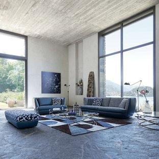Ejemplo de salón actual, extra grande, con paredes grises y suelo gris