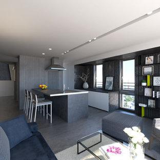 東京23区の小さいコンテンポラリースタイルのおしゃれなLDK (コンクリートの床、グレーの床、グレーの壁、暖炉なし) の写真
