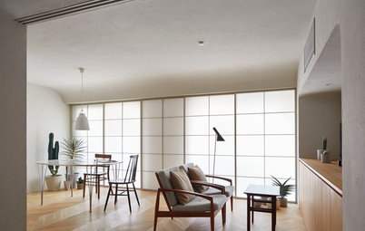 50平米の都心マンションで実現、壁と天井が一体となった包まれるような空間
