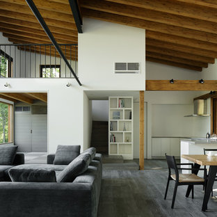 Inspiration for a contemporary open plan living room in Other with white walls and painted wood flooring.