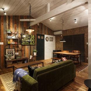 他の地域のインダストリアルスタイルのリビング・居間の画像 (茶色い壁、無垢フローリング、茶色い床)