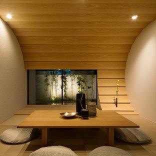 Ejemplo de salón moderno con paredes marrones, tatami y suelo marrón