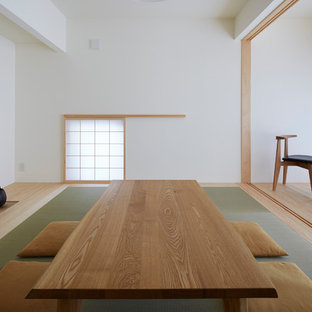 Inspiration for a world-inspired formal living room in Tokyo Suburbs with white walls, no fireplace, no tv and tatami flooring.