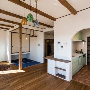 Living Room   Mediterranean Medium Tone Wood Floor And Brown Floor Living  Room Idea In Nagoya