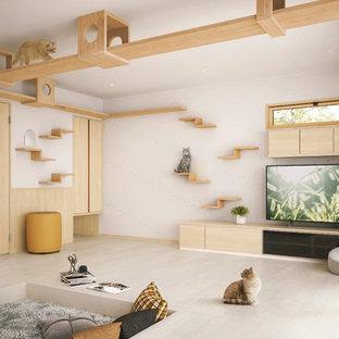 東京23区の北欧スタイルのおしゃれなリビング (白い壁、塗装フローリング、ベージュの床) の写真
