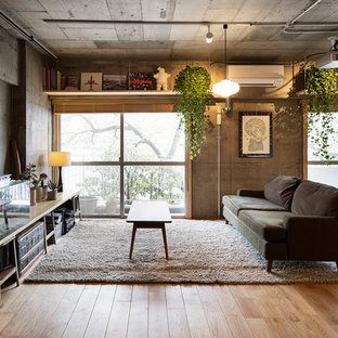 Photo of an industrial living room in Tokyo with grey walls, medium hardwood flooring and no fireplace.