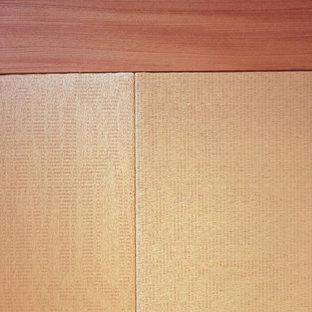 東京23区の広い和風のおしゃれなLDK (フォーマル、白い壁、畳、暖炉なし、据え置き型テレビ、ベージュの床) の写真