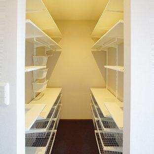 Modern inredning av ett mellanstort walk-in-closet för könsneutrala, med heltäckningsmatta och lila golv